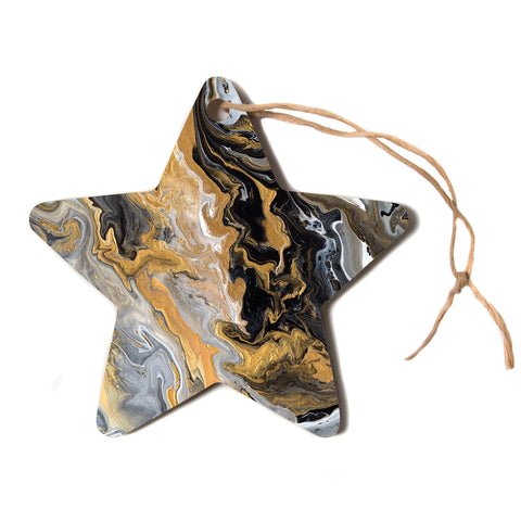 "Catherine Holcombe ""Gold Vein Marble"" Black Gold Abstract Geological Painting Star Holiday Ornament"
