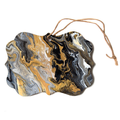 "Catherine Holcombe ""Gold Vein Marble"" Black Gold Abstract Geological Painting Scroll Holiday Ornament"