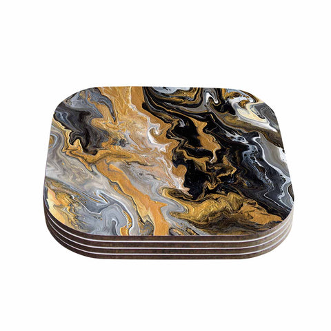 "Catherine Holcombe ""Gold Vein Marble"" Black Gold Abstract Geological Painting Coasters (Set of 4)"