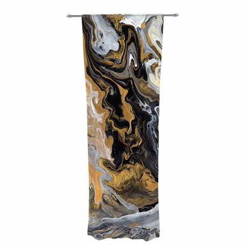 "Catherine Holcombe ""Gold Vein Marble"" Black Gold Abstract Geological Painting Decorative Sheer Curtain"