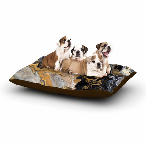 "Catherine Holcombe ""Gold Vein Marble"" Black Gold Abstract Geological Painting Dog Bed"