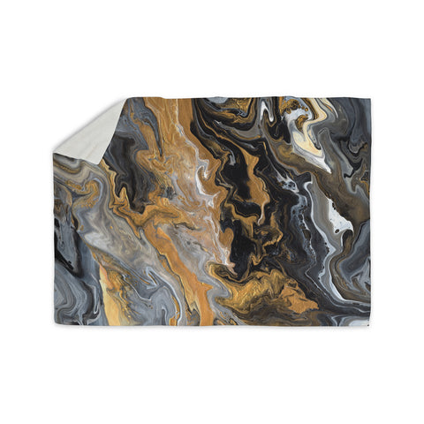 "Catherine Holcombe ""Gold Vein Marble"" Black Gold Abstract Geological Painting Sherpa Blanket"