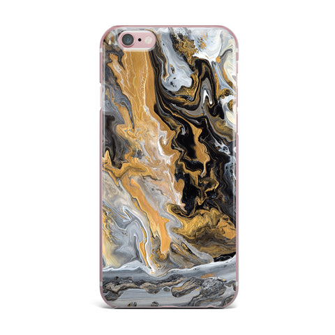 "Catherine Holcombe ""Gold Vein Marble"" Black Gold Abstract Geological Painting iPhone Case"