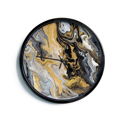 "Catherine Holcombe ""Gold Vein Marble"" Black Gold Abstract Geological Painting Modern Wall Clock"
