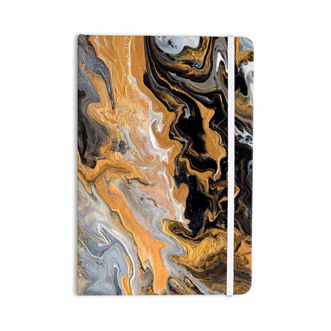 "Catherine Holcombe ""Gold Vein Marble"" Black Gold Abstract Geological Painting Everything Notebook"