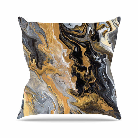 "Catherine Holcombe ""Gold Vein Marble"" Black Gold Abstract Geological Painting Throw Pillow"