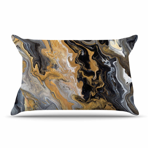 "Catherine Holcombe ""Gold Vein Marble"" Black Gold Abstract Geological Painting Pillow Sham"