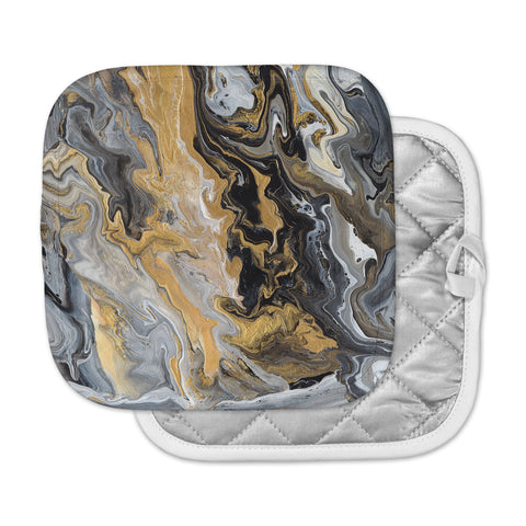 "Catherine Holcombe ""Gold Vein Marble"" Black Gold Abstract Geological Painting Pot Holder"