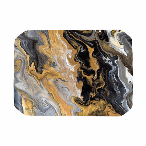 "Catherine Holcombe ""Gold Vein Marble"" Black Gold Abstract Geological Painting Place Mat"