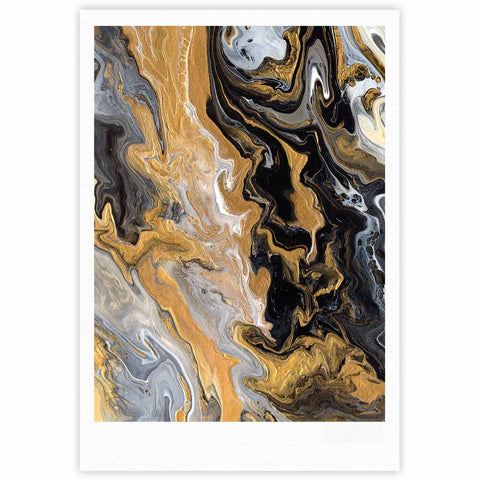 "Catherine Holcombe ""Gold Vein Marble"" Black Gold Abstract Geological Painting Fine Art Gallery Print"