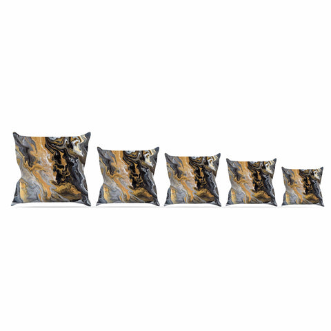 "Catherine Holcombe ""Gold Vein Marble"" Black Gold Abstract Geological Painting Outdoor Throw Pillow"