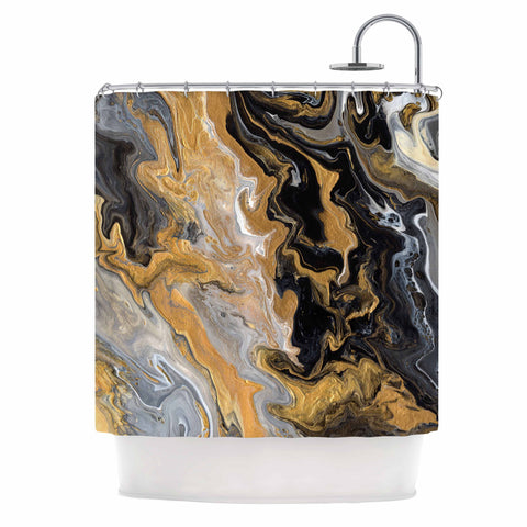 "Catherine Holcombe ""Gold Vein Marble"" Black Gold Abstract Geological Painting Shower Curtain"