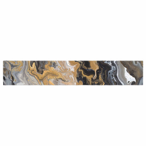 "Catherine Holcombe ""Gold Vein Marble"" Black Gold Abstract Geological Painting Table Runner"