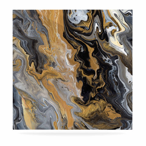 "Catherine Holcombe ""Gold Vein Marble"" Black Gold Abstract Geological Painting Luxe Square Panel"
