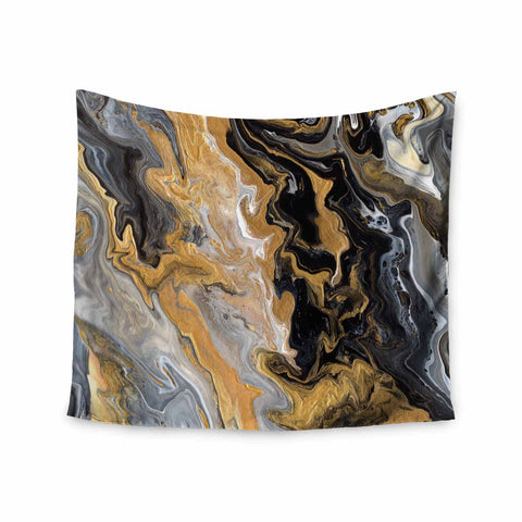 "Catherine Holcombe ""Gold Vein Marble"" Black Gold Abstract Geological Painting Wall Tapestry"