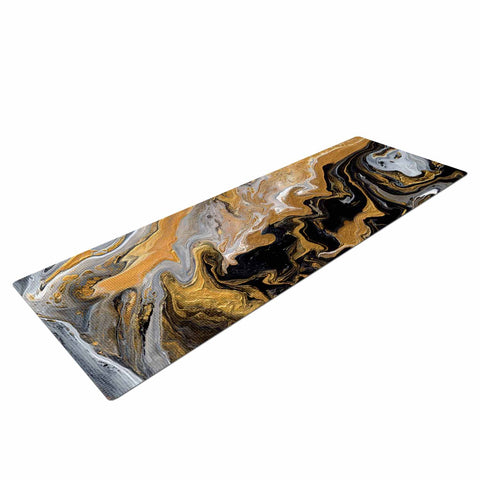 "Catherine Holcombe ""Gold Vein Marble"" Black Gold Abstract Geological Painting Yoga Mat"