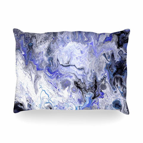 "Catherine Holcombe ""Purple Marble"" Purple Black Abstract Geological Painting Oblong Pillow"