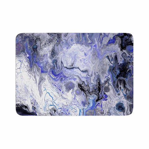 "Catherine Holcombe ""Purple Marble"" Purple Black Abstract Geological Painting Memory Foam Bath Mat"