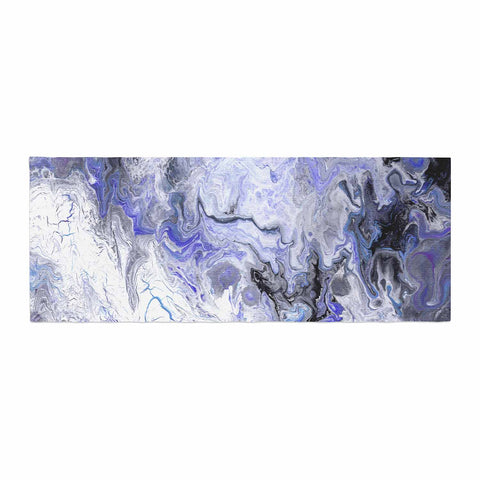 "Catherine Holcombe ""Purple Marble"" Purple Black Abstract Geological Painting Bed Runner"