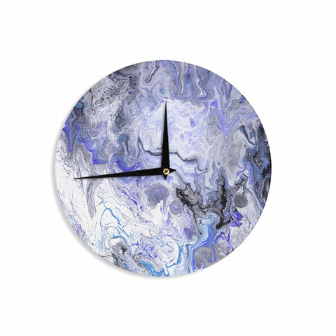 "Catherine Holcombe ""Purple Marble"" Purple Black Abstract Geological Painting Wall Clock"