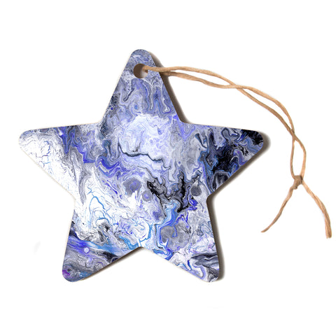 "Catherine Holcombe ""Purple Marble"" Purple Black Abstract Geological Painting Star Holiday Ornament"
