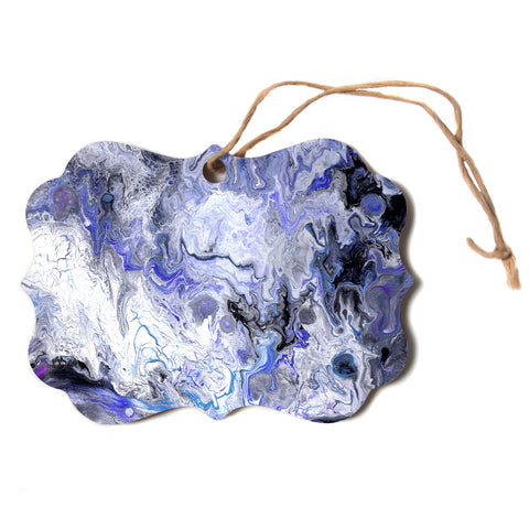 "Catherine Holcombe ""Purple Marble"" Purple Black Abstract Geological Painting Scroll Holiday Ornament"