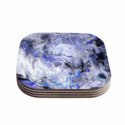 "Catherine Holcombe ""Purple Marble"" Purple Black Abstract Geological Painting Coasters (Set of 4)"