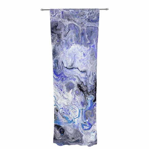 "Catherine Holcombe ""Purple Marble"" Purple Black Abstract Geological Painting Decorative Sheer Curtain"