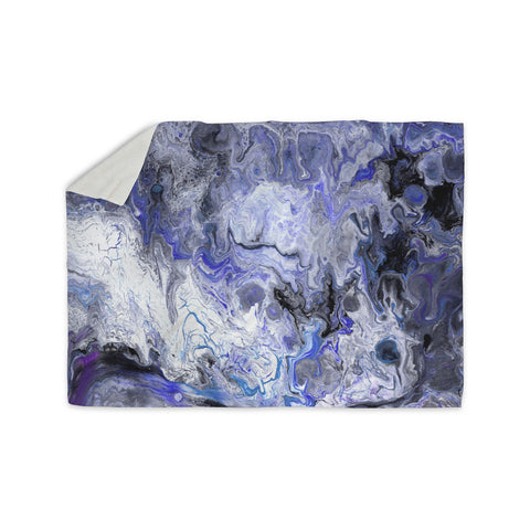 "Catherine Holcombe ""Purple Marble"" Purple Black Abstract Geological Painting Sherpa Blanket"