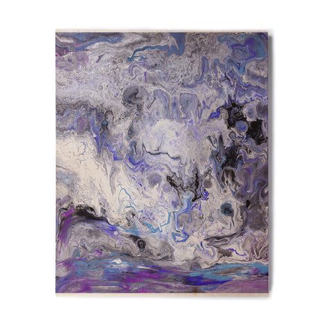 "Catherine Holcombe ""Purple Marble"" Purple Black Abstract Geological Painting Birchwood Wall Art"