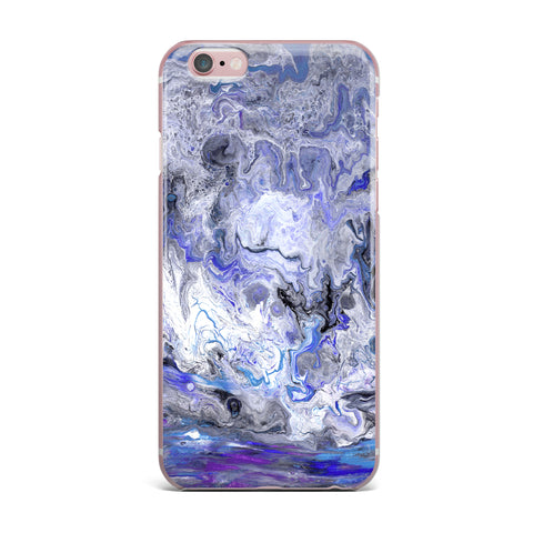 "Catherine Holcombe ""Purple Marble"" Purple Black Abstract Geological Painting iPhone Case"