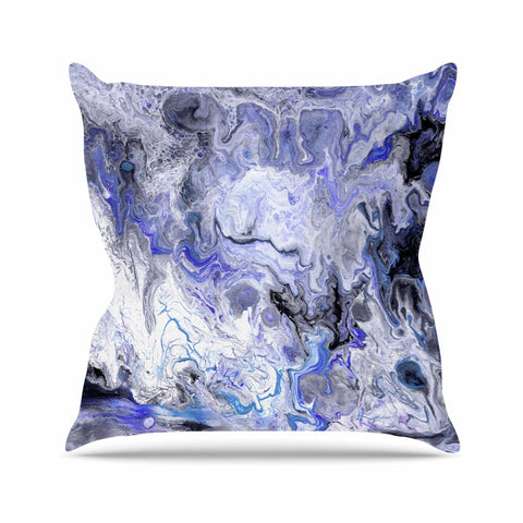 "Catherine Holcombe ""Purple Marble"" Purple Black Abstract Geological Painting Throw Pillow"