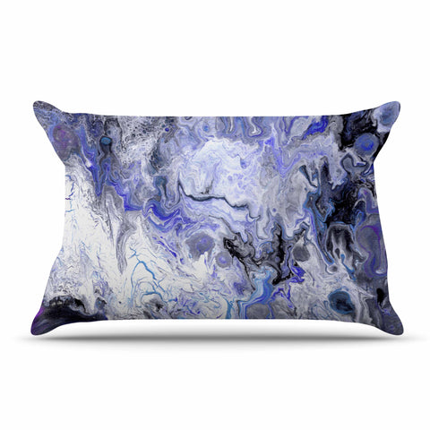 "Catherine Holcombe ""Purple Marble"" Purple Black Abstract Geological Painting Pillow Sham"