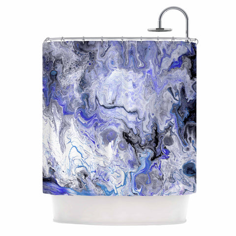 "Catherine Holcombe ""Purple Marble"" Purple Black Abstract Geological Painting Shower Curtain"