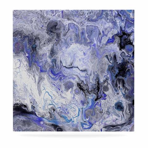 "Catherine Holcombe ""Purple Marble"" Purple Black Abstract Geological Painting Luxe Square Panel"