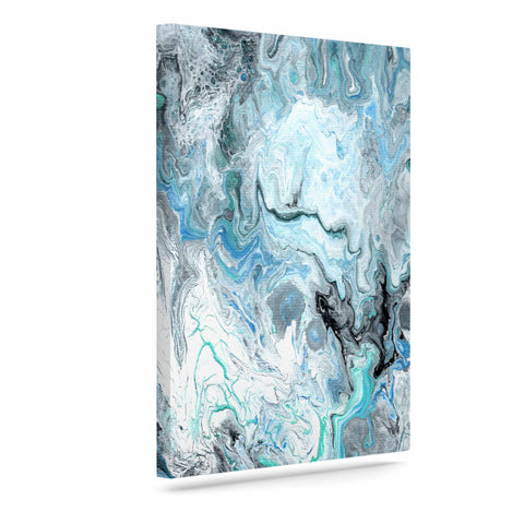 "Catherine Holcombe ""Wave Crash Marble"" Blue Teal Abstract Coastal Painting Art Canvas"
