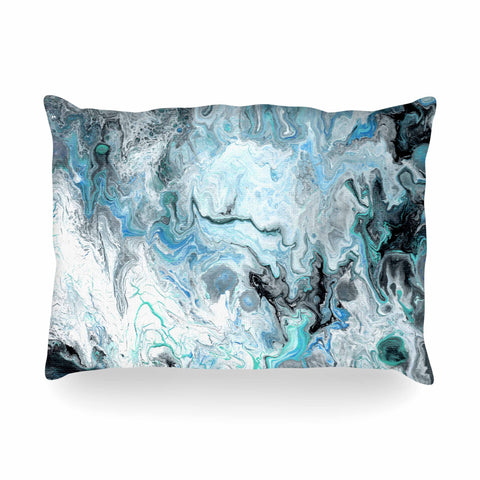 "Catherine Holcombe ""Wave Crash Marble"" Blue Teal Abstract Coastal Painting Oblong Pillow"