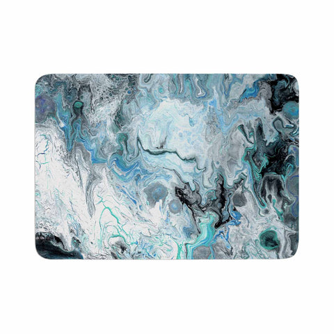 "Catherine Holcombe ""Wave Crash Marble"" Blue Teal Abstract Coastal Painting Memory Foam Bath Mat"