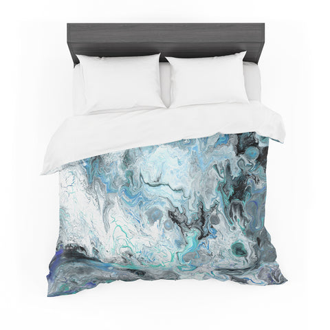 "Catherine Holcombe ""Wave Crash Marble"" Blue Teal Abstract Coastal Painting Featherweight Duvet Cover"