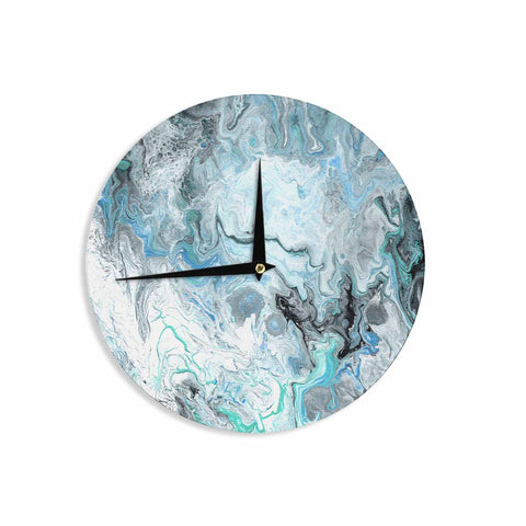 "Catherine Holcombe ""Wave Crash Marble"" Blue Teal Abstract Coastal Painting Wall Clock"