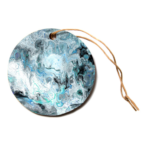 "Catherine Holcombe ""Wave Crash Marble"" Blue Teal Abstract Coastal Painting Circle Holiday Ornament"
