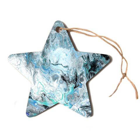 "Catherine Holcombe ""Wave Crash Marble"" Blue Teal Abstract Coastal Painting Star Holiday Ornament"
