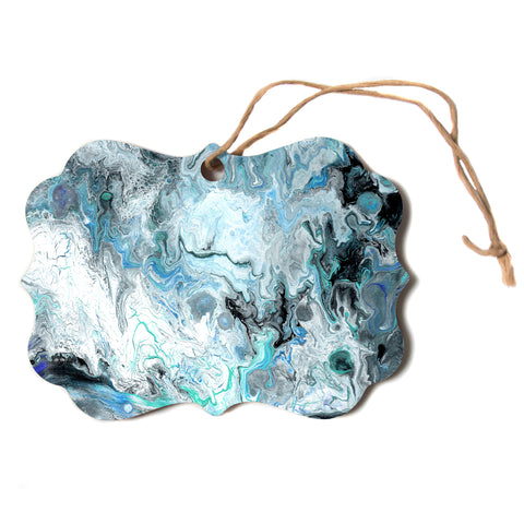 "Catherine Holcombe ""Wave Crash Marble"" Blue Teal Abstract Coastal Painting Scroll Holiday Ornament"