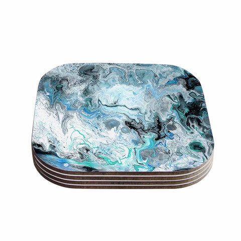 "Catherine Holcombe ""Wave Crash Marble"" Blue Teal Abstract Coastal Painting Coasters (Set of 4)"