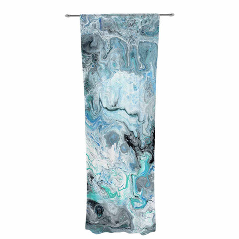 "Catherine Holcombe ""Wave Crash Marble"" Blue Teal Abstract Coastal Painting Decorative Sheer Curtain"