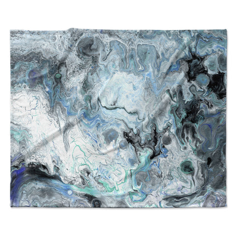 "Catherine Holcombe ""Wave Crash Marble"" Blue Teal Abstract Coastal Painting Fleece Throw Blanket"