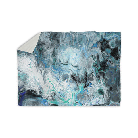 "Catherine Holcombe ""Wave Crash Marble"" Blue Teal Abstract Coastal Painting Sherpa Blanket"