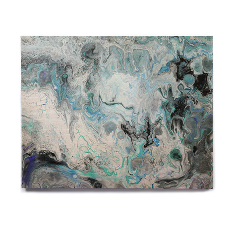 "Catherine Holcombe ""Wave Crash Marble"" Blue Teal Abstract Coastal Painting Birchwood Wall Art"