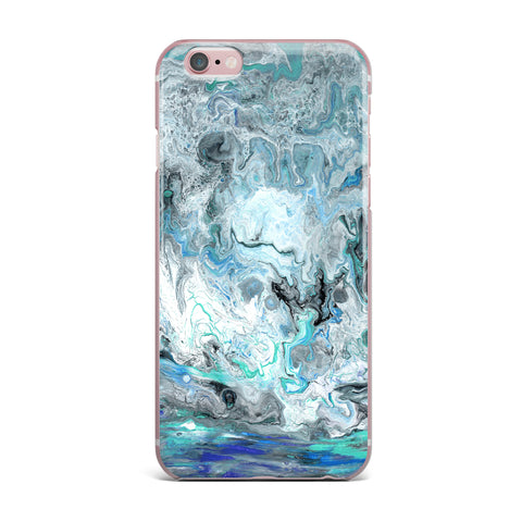 "Catherine Holcombe ""Wave Crash Marble"" Blue Teal Abstract Coastal Painting iPhone Case"