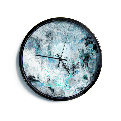 "Catherine Holcombe ""Wave Crash Marble"" Blue Teal Abstract Coastal Painting Modern Wall Clock"
